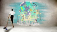Businessman on ladder painting on wall video