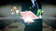 Businessman open palm, Around basketball icon, court, goalpost. video