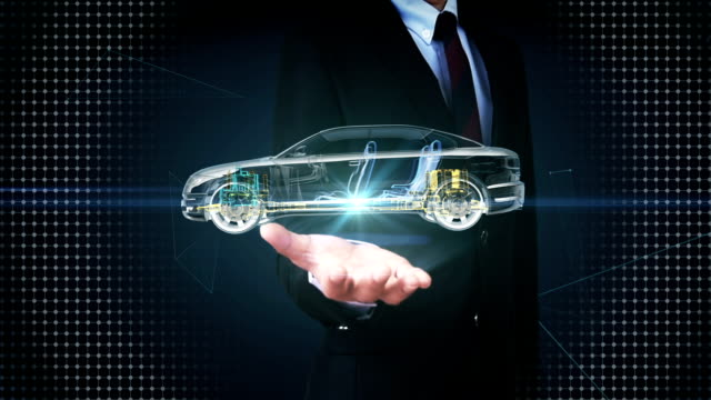 Businessman open palm, Electronic car, Drive shaft, battery, Engine, seat. video