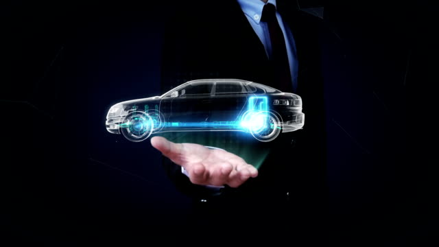 Businessman open palm, Electronic, lithium ion battery. Charging car battery. video