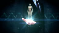 Businessman open palm, Female body scanning  human muscle, blood system. video