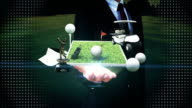 Businessman open palm, golf icon, golf bag, field, course, cart. video