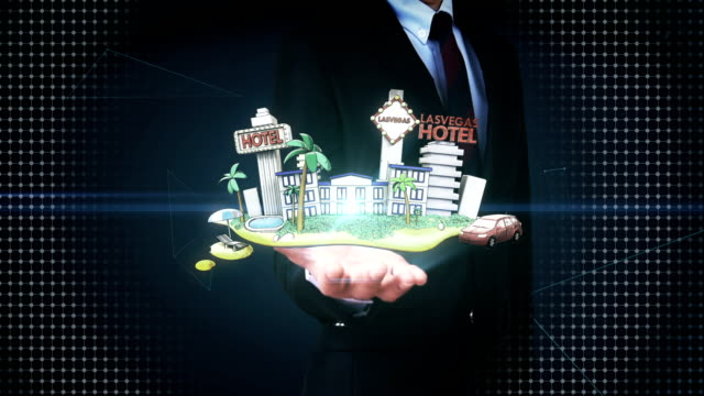 Businessman open palm, Holiday of Lasvagas hotel icon, casino, tour. video