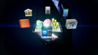 Businessman open palm, Management bank account, Mobile banking,online banking. video