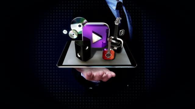 Businessman open palm, Music, instrument, download, VOD, Entertainment mobile. video