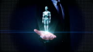 Businessman open palm, Rotating transparency 3D robot body. video