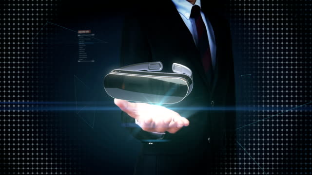 Businessman open palm, VR glasses with digital interface UI.augmented reality. video