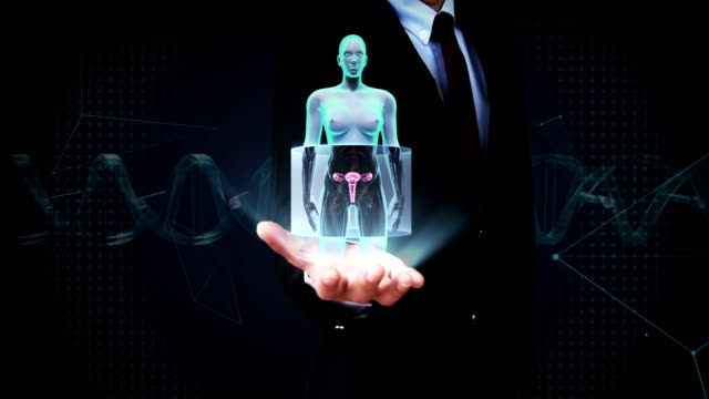 Businessman open palm, Zooming female body scanning womb, X-ray image. video