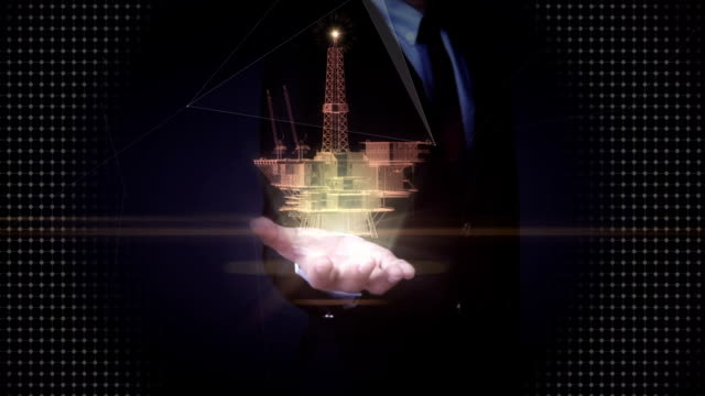 Businessman open palms, oil drilling, oil platform ship. x-ray image. video