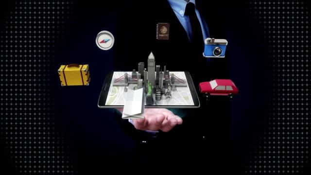 Businessman open palms, travel city,vacation, Mobile access online tour. video