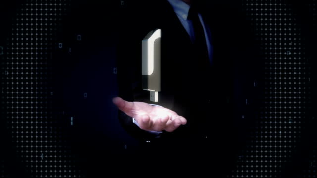 Businessman open palms, USB memory stick. video
