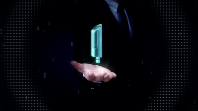 Businessman open palms, USB memory stick.x-ray image. video