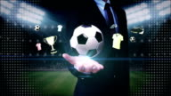 Businessman open palm,Soccer ball icon, football animation. video
