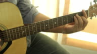 Businessman playing the guitar video