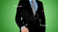 Businessman pressing touch screen video