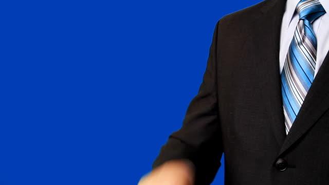Businessman pressing virtual 'support' banner video
