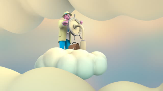 Businessman riding a Cloud in the Sky (2 loops) video