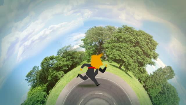 businessman running around the world green video