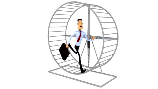 Businessman Running in exercise wheel video