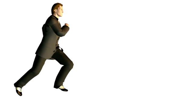 businessman running loop video
