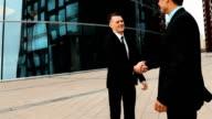 Businessman shake hands video