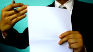 businessman sign paper document video