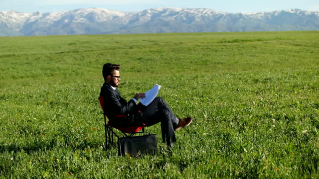 Businessman sits in an office chair in a field video