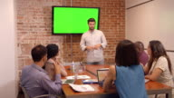 Businessman Standing By Screen To Deliver Presentation video