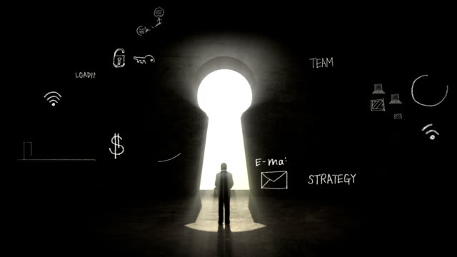 businessman Standing in front of Keyhole, Business plan video
