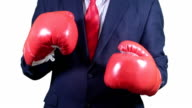 Businessman suit and tie boxing red gloves. video