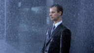 Businessman Surrendering To The Rain video