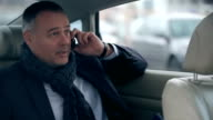 Businessman talking on the phone in the car video