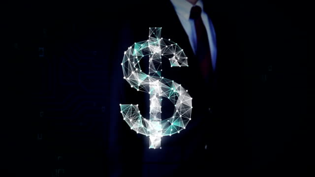 Businessman touched screen, Numerous dots gather to create a Dollar currency sign, low-polygon web. video