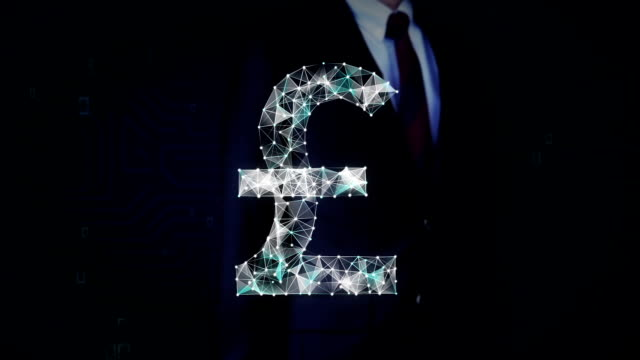 Businessman touched screen, Numerous dots gather to create a Pound currency sign, low-polygon web. video