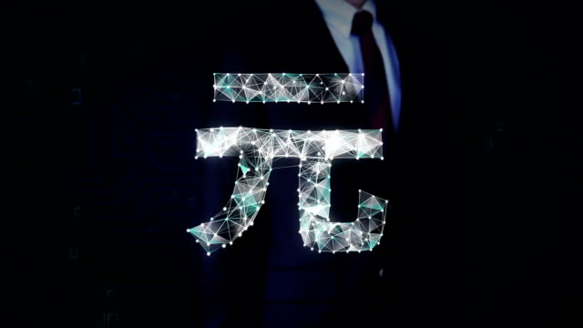 Businessman touched screen, Numerous dots gather to create a Yuan currency sign, low-polygon web. video