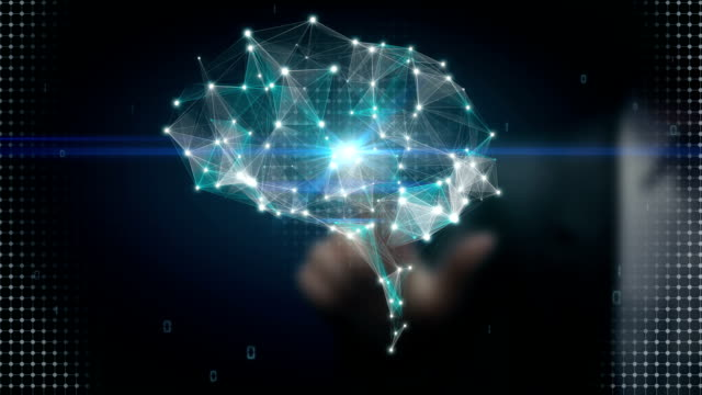 Businessman touching Brain connect digital lines, expanding artificial intelligence video