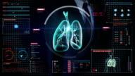 Businessman touching digital screen, Rotating Human lungs, Pulmonary Diagnostics. video
