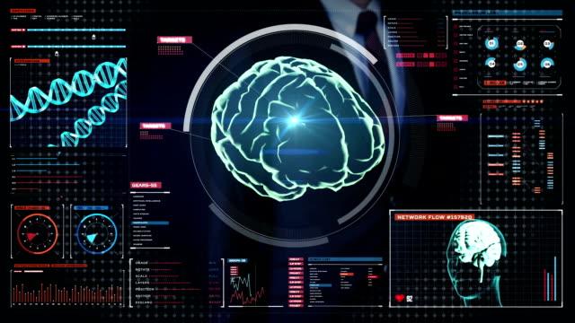 Businessman touching digital screen, Scanning Brain.cerebrum. video