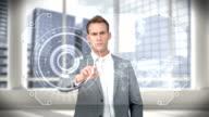 Businessman touching digital screen video