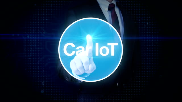 Businessman touching screen, Car internet of things technology icon connect global world map, dots makes world map. internet of things. video