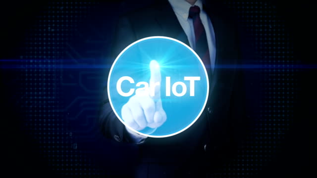 Businessman touching screen, Car internet of things technology icon connect global world map, dots makes world map. internet of things.2. video