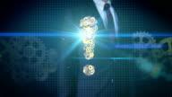 Businessman touching screen, Steel golden gears making Exclamation mark shape. video