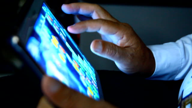 businessman use tablet video