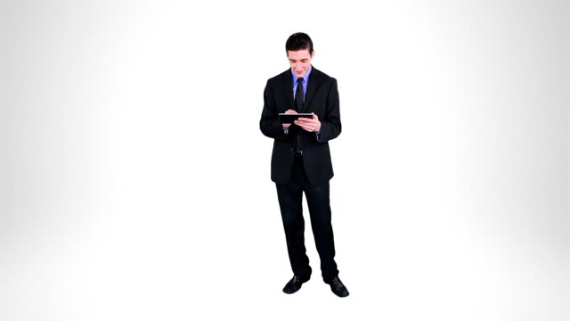 Businessman using a Digital Tablet. Alpha matte. video