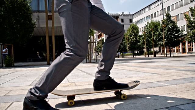 SLO MO Businessman using a skateboard video