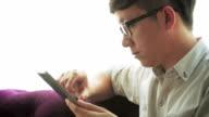 Businessman using digital tablet,Close-up video