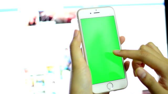 Businessman using smart phone touchscreen ,Chroma key. video