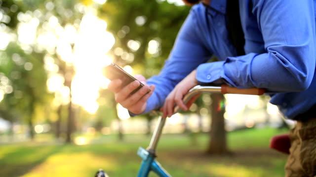 Businessman Using Smartphone Outdoors video