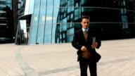 Businessman using tablet PC video