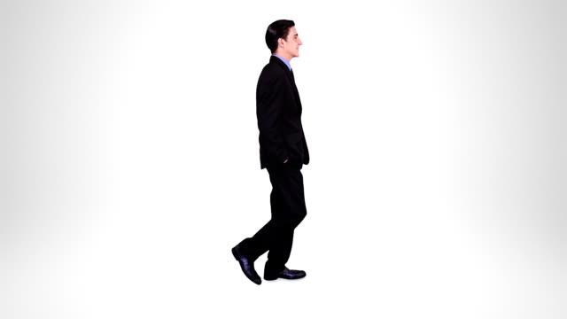 Businessman walking. Alpha matte. 2 in 1. Loopable. video